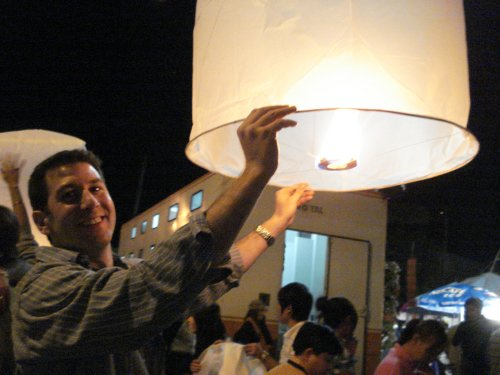 Jon and lantern, Chiang Mai